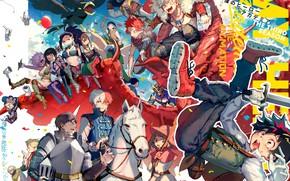 Картинка аниме, арт, персонажи, костюмы, Boku No Hero Academia, Моя Геройская Академия