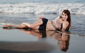 Картинка море, девушка, берег, азиатка