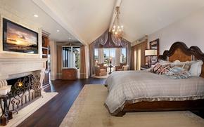 Картинка дизайн, комната, кровать, окно, люстра, камин, особняк, Design, спальня, Bed, Interior, Bedroom