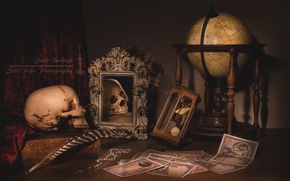 Обои череп, натюрморт, зеркало, деньги, часы, глобус, книги, перо