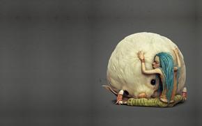 Обои минимализм, рендеринг, арт, пушистик, Borislav Kechashki, Zia and The Dra-Kon, дружба, любимчик, друзья, обнимашки