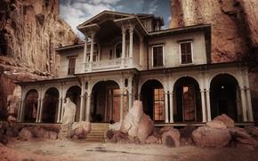 Картинка горы, камни, здание, колонны, архитектура, exploracion
