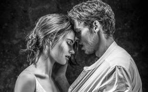 Обои черно-белое, любовь, пара, мужчина, девушка, страсть, Лили Джеймс, Lily James, Richard Madden, чувства