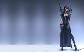 Картинка девушка, оружие, воин, Basic brush, Oh Ji Sung