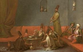 Картинка масло, картина, холст, жанровая, Жан-Батист ван Мур, Дервишы Едят