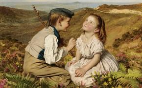 Обои радость, детство, мальчик и девочка, It's touch and go, to laugh or no, Софи Жанжамбр ...
