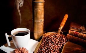 Обои совок, горячий, кофе, зёрна, напиток, чашка, книги, пар