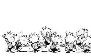 Картинка ч/б, комикс, прыгает, танцует, Calvin, Кельвин