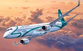 Обои пассажирский, Embraer ERJ 19, полёт, арт, самолет, вираж, рисунок, солнце, небо, облака