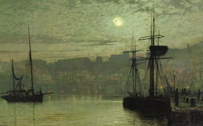 Картинка ночь, корабль, картина, Луна, городской пейзаж, Джон Эткинсон Гримшоу, Скарборо, John Atkinson Grimshaw