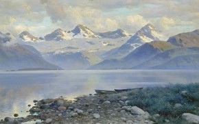 Картинка пейзаж, картина, лодки, Константин Крыжицкий, Озеро в Горах