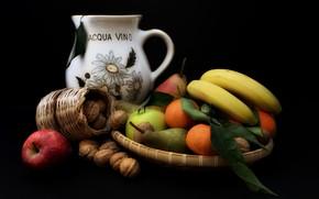 Картинка яблоко, апельсин, груша, кувшин, орехи, банан