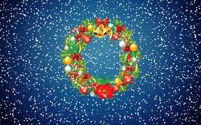 Картинка Зима, Минимализм, Снег, Новый Год, Рождество, Снежинки, Фон, Украшение, Праздник, Венок, Праздничный венок
