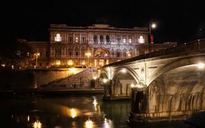 Картинка ночь, мост, Рим, Италия, Ватикан