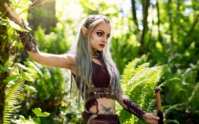 Картинка girl, forest, long hair, breast, blue eyes, tattoo, lips, face, cosplay, elf, body, piercing, belly, …