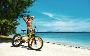 Картинка песок, море, пляж, солнце, деревья, велосипед, поза, побережье, шорты, фигура, очки, спортивная, парень, торс, мускулы
