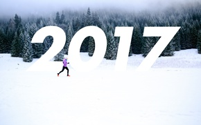 Картинка Зима, Лес, Бег, Новый год, 2017
