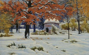 Обои картина, холст, Ранний Снег, масло, пейзаж, Константин Крыжицкий
