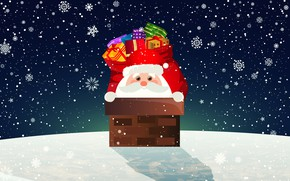 Картинка Зима, Минимализм, Снег, Новый Год, Рождество, Труба, Снежинки, Фон, Санта, Крыша, Праздник, Санта Клаус, Подарки, …