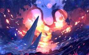 Картинка небо, природа, дракон, боке, by ryky