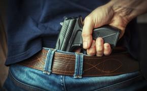 Картинка gun, hand, waist, hidden