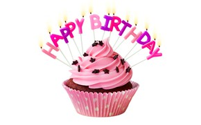 Обои свечи, cake, крем, Happy Birthday, pink, cupcake, кекс, celebration, cream, decoration, candle, День Рождения
