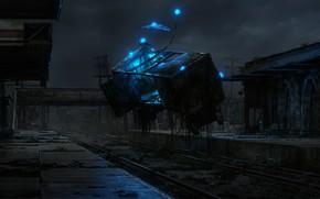 Картинка ночь, станция, Server Dust, Distilled