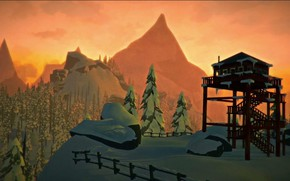 Картинка Закат, Зима, Winter, Sunset, Hinterland Studio, The Long Dark, Indie game, Смотровая вышка, Sighthole