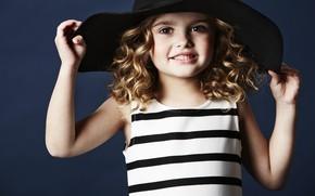 Картинка взгляд, улыбка, девочка, шляпка
