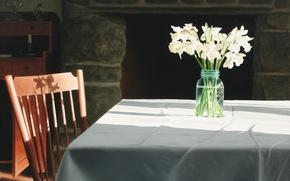 Картинка цветы, стол, стул, камин, Волков Александр, Study of a Conversation