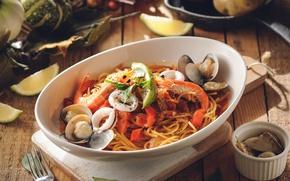 Картинка блюдо, креветки, моллюски, паста
