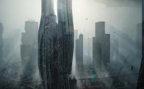 Картинка город, здания, архитектура, Power Diving