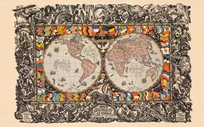 Картинка карта, флаги, континенты