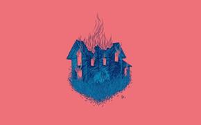 Картинка лицо, пожар, пламя, ведьма, art, деревянный дом, проклятие, Daria Golab