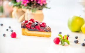 Обои ягоды, яблоко, торт, десерт, желе