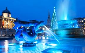 Картинка Англия, Лондон, Рождество, фонтан, Трафальгарская площадь