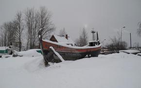 Картинка зима, баркас, Петрозаводск, Онежское озеро