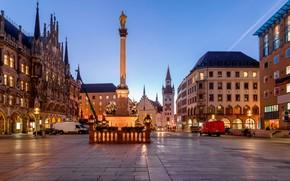 Обои памятник, Мариенплац, Бавария, вечер, огни, Munich, площадь, Мюнхен, Германия, дома, Bavaria, Germany, Marienplatz