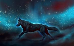 Картинка космос, фантастика, волк, by JadeMere