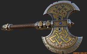 Картинка оружие, игра, арт, martin holmstrom, Warhammer Axe, warhammer online, лабрис