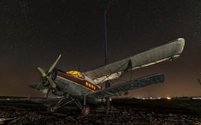 Обои самолёт, ночь, авиа-база