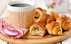 Картинка чай, чашка, выпечка, рогалик
