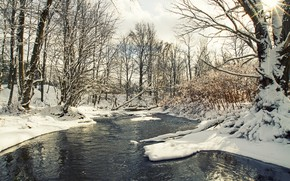 Картинка зима, снег, деревья, речка