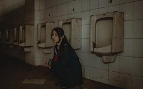 Картинка взгляд, девушка, туалет
