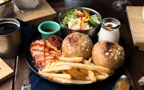 Обои Салат, Бургер, еда, Соус, Картофел Фри