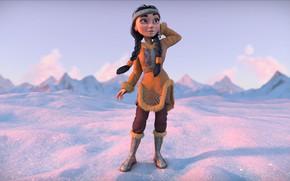 Картинка зима, девушка, снег, горы, костюм, наряд, Egor Ilyin, Eskimo