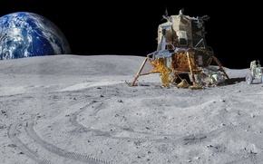 Обои планета, луноход, посадочный модуль, Аполлон, Луна, Земля