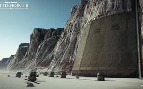 Картинка скалы, ворота, охрана, Star Wars Battlefront II, Crait