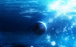 Картинка фантастика, планета, рыба, под водой, Y_Y