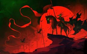 Картинка воин, зарево, всадник, птицв, Raven Cloak